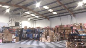 Susanna Clothing's newly installed warehouse lighting using LED high bays
