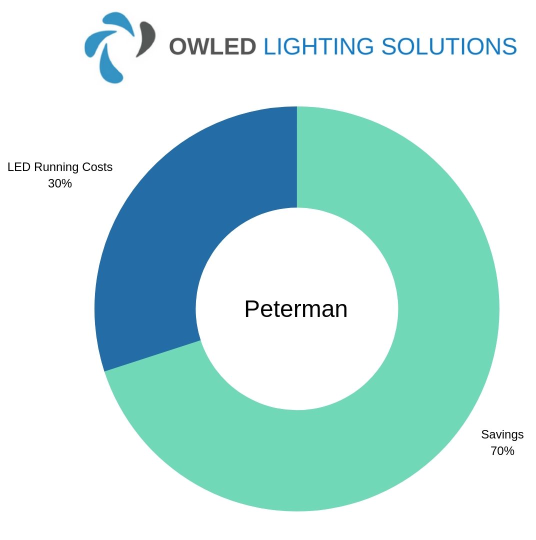 Chart showing Peterman's LED Warehouse Lighting Savings Chart