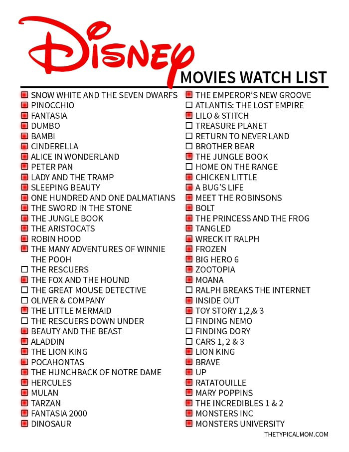Disney movies I've seen 1