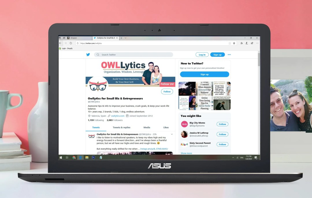 OWLLytics twitter laptop with mug and photo