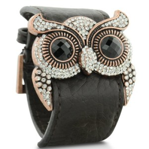 Owl Jewelry | Leather and Crystal Owl Cuff Bracelet