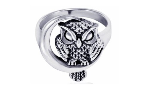 Sterling Silver Detailed Midnight Owl Ring