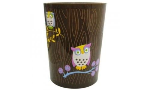 Allure Home Owls Printed Wastebasket Trashcan