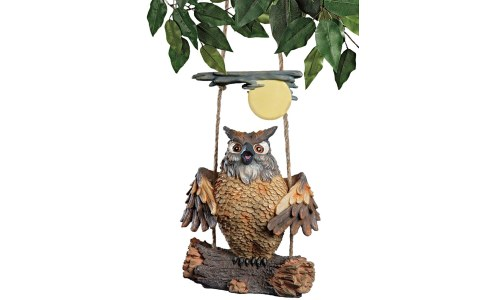 Howie The Hoot Owl Swinging Owl Statue
