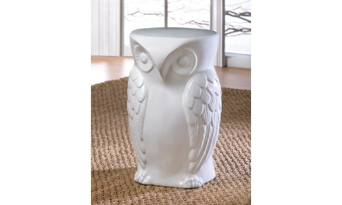 Wise Owl Ceramic Decorative Home or Garden Owl Stool