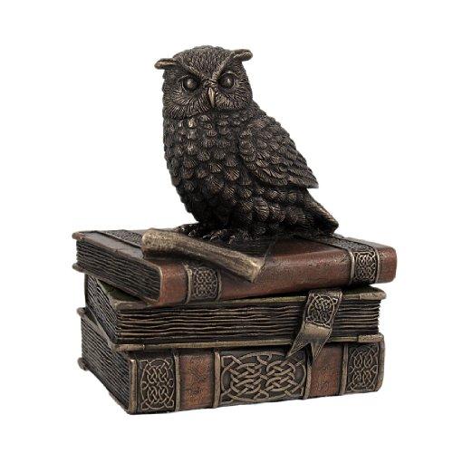 Bronze Finish Wise Owl Trinket Box Jewelry Box