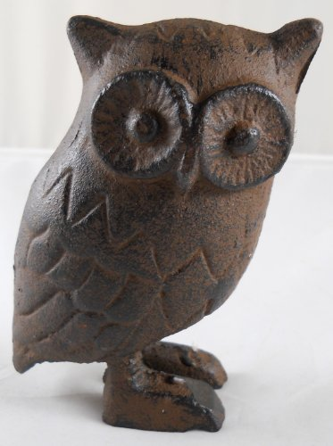 Rustic Brown Cast Iron Owl Statue Figurine Gift