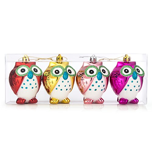 Shatterproof Christmas Owls Ornaments