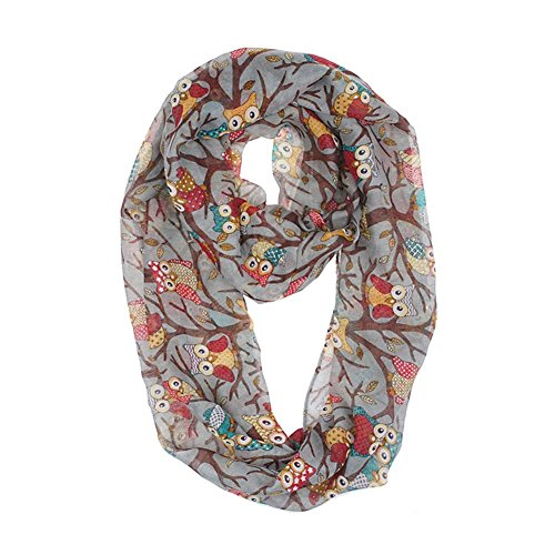 Colorful Lightweight Infinity Owl Scarf