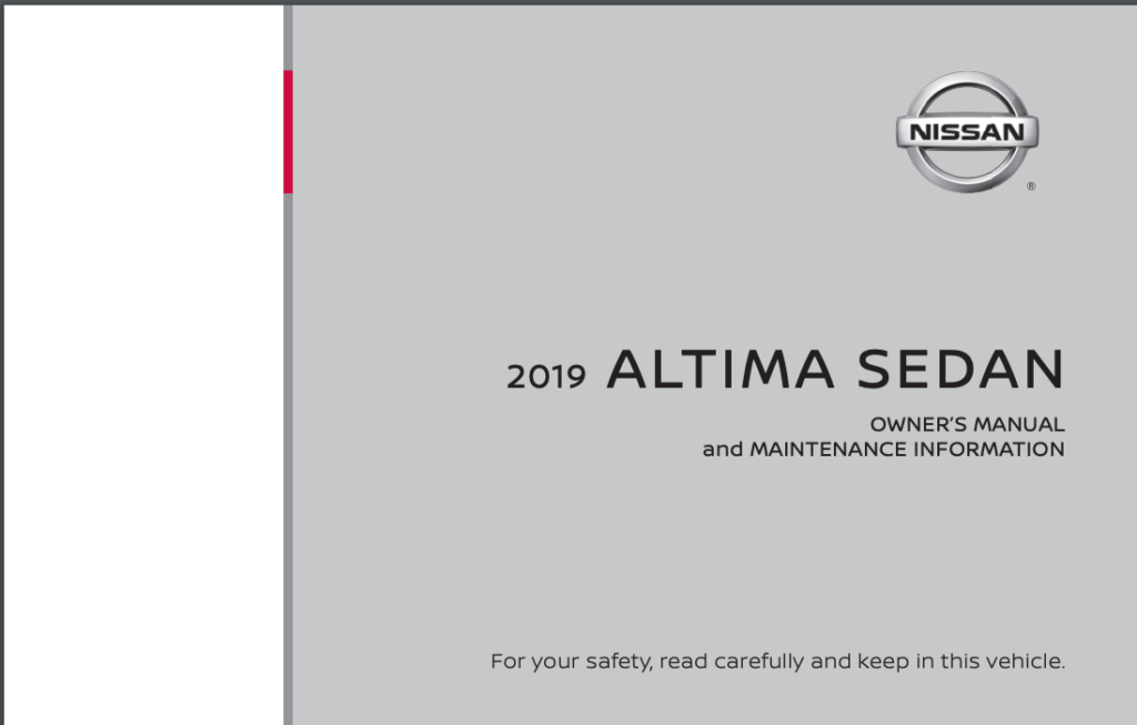 2019 Nissan Altima Sedan Owner's Manual and Maintenance