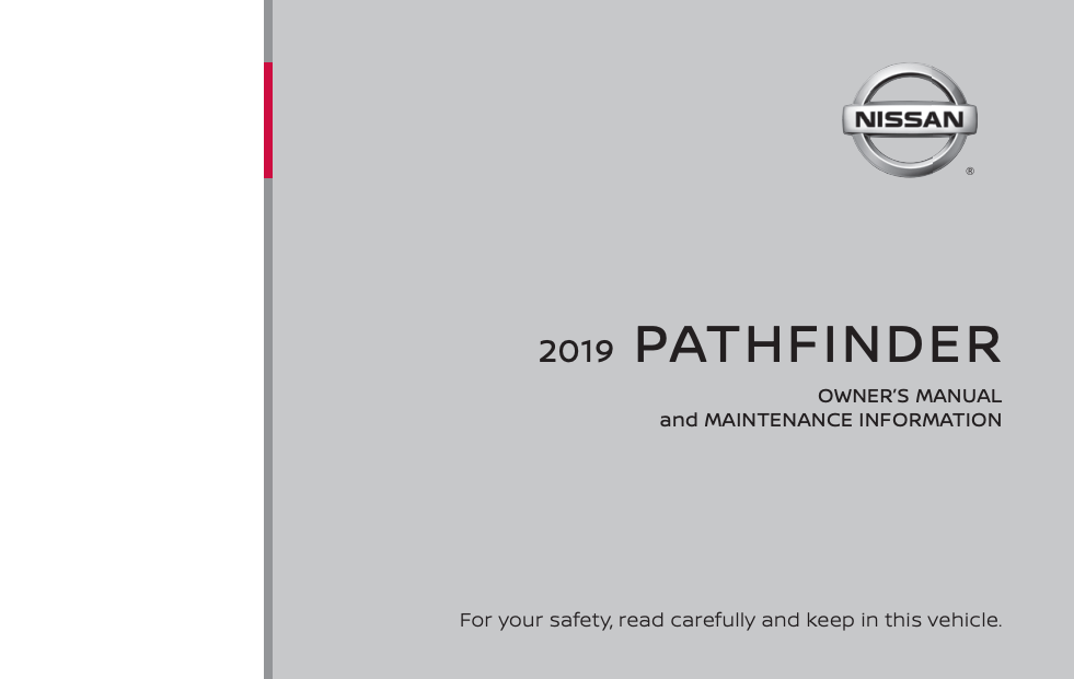 2019 Nissan Pathfinder Owner's Manual and Maintenance