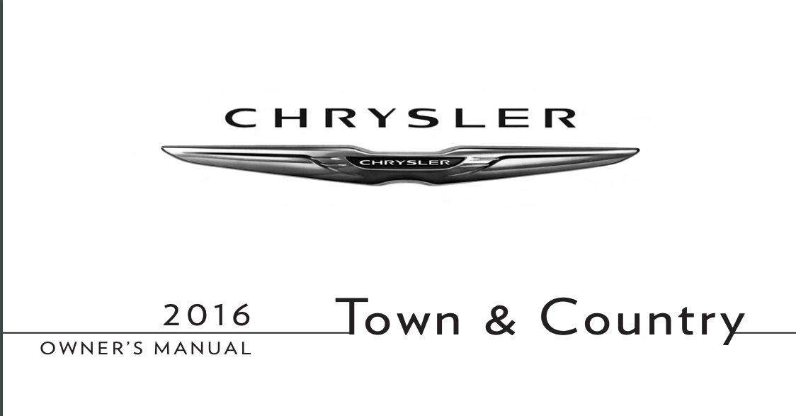 2016 Chrysler Town and Country Owner's Manual [Sign Up