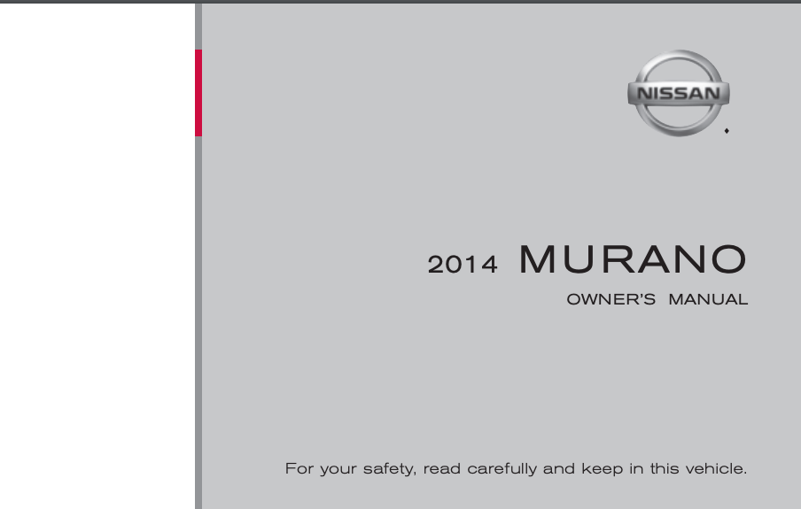 2014 Nissan Murano Owner's Manual and Maintenance