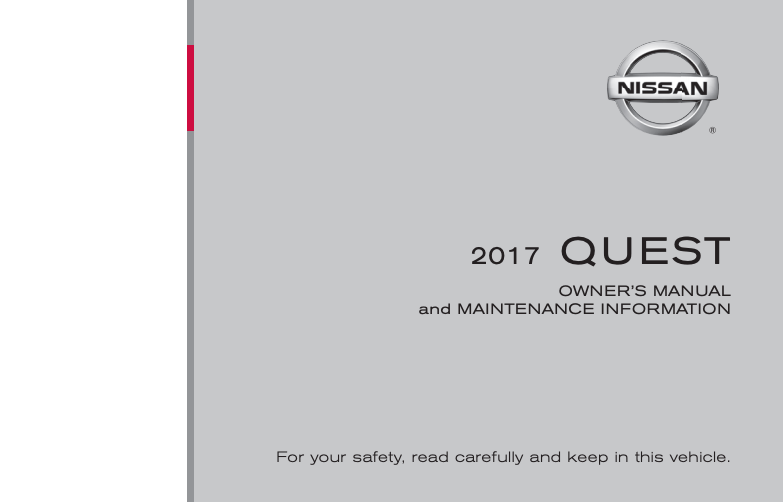 2017 Nissan Quest Owner's Manual and Maintenance