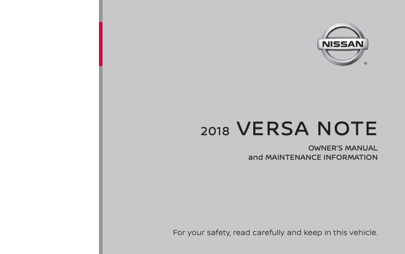 2018 Nissan Versa Note Owner's Manual and Maintenance