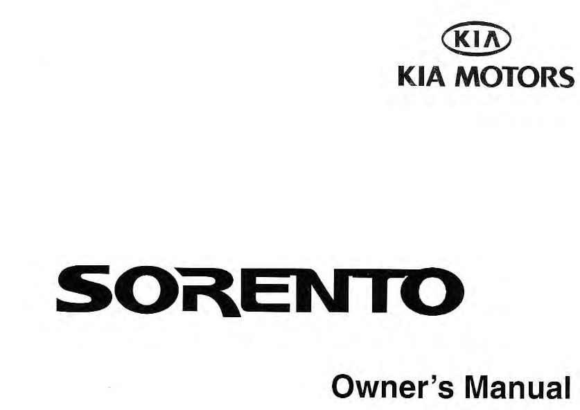 2003 KIA Sorento Owner's Manual [Sign Up & Download