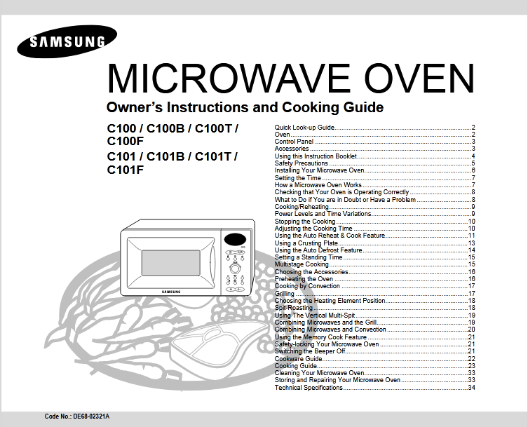 Samsung C101 Microwave Oven Owner's Manual [Sign Up