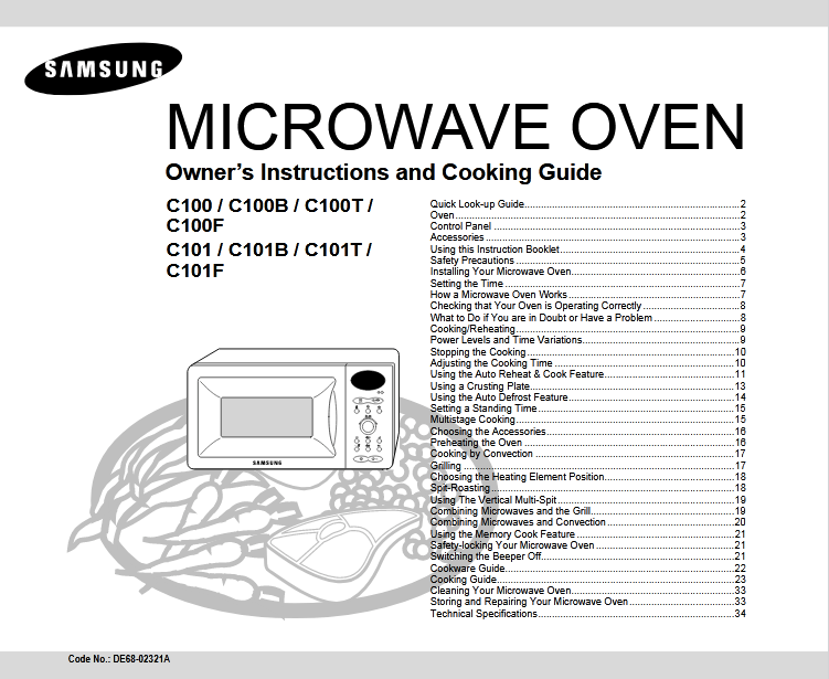 Samsung C101T Microwave Oven Owner's Manual [Sign Up