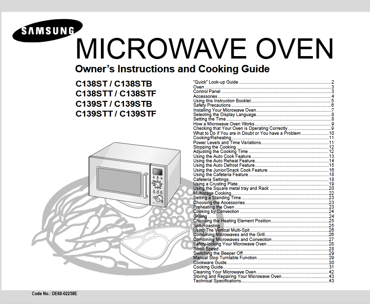 Samsung C138ST Microwave Oven Owner's Manual [Sign Up
