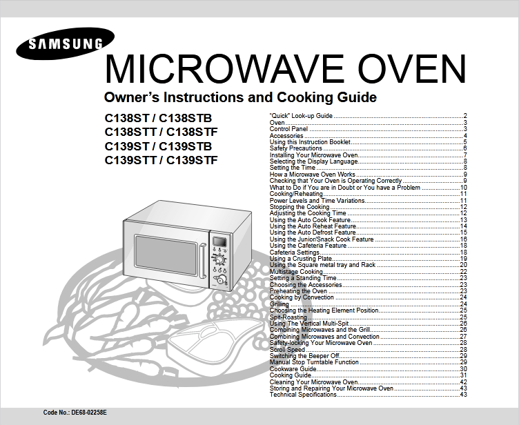 Samsung C139STT Microwave Oven Owner's Manual [Sign Up