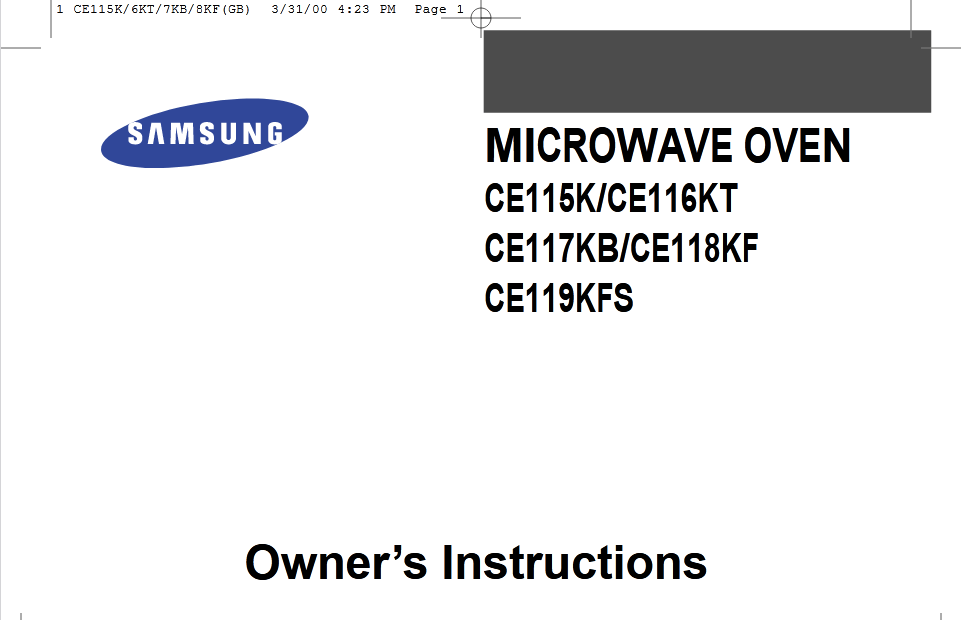 Samsung CE116KT Microwave Oven Owner's Manual [Sign Up