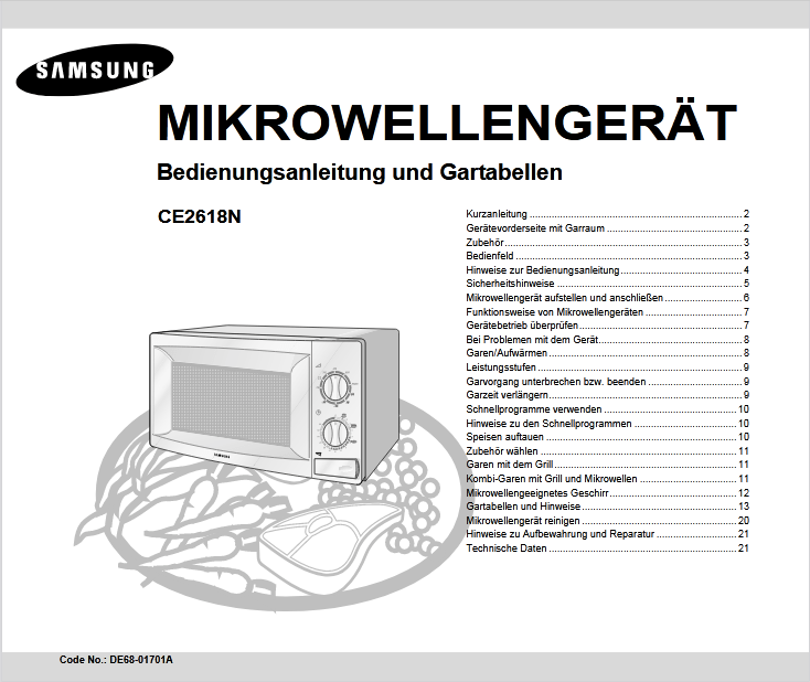 Samsung CE2618N Microwave Oven Owner's Manual [Sign Up