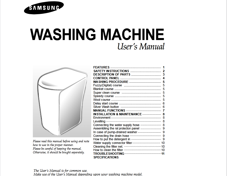 Free Samsung DC68-02196A Washer/Dryer Owner's Manual