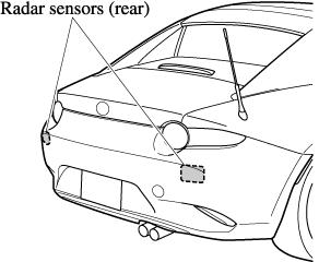 The radar sensors (rear) are installed inside the rear