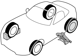 When blocking a tyre, use rocks or wood blocks of