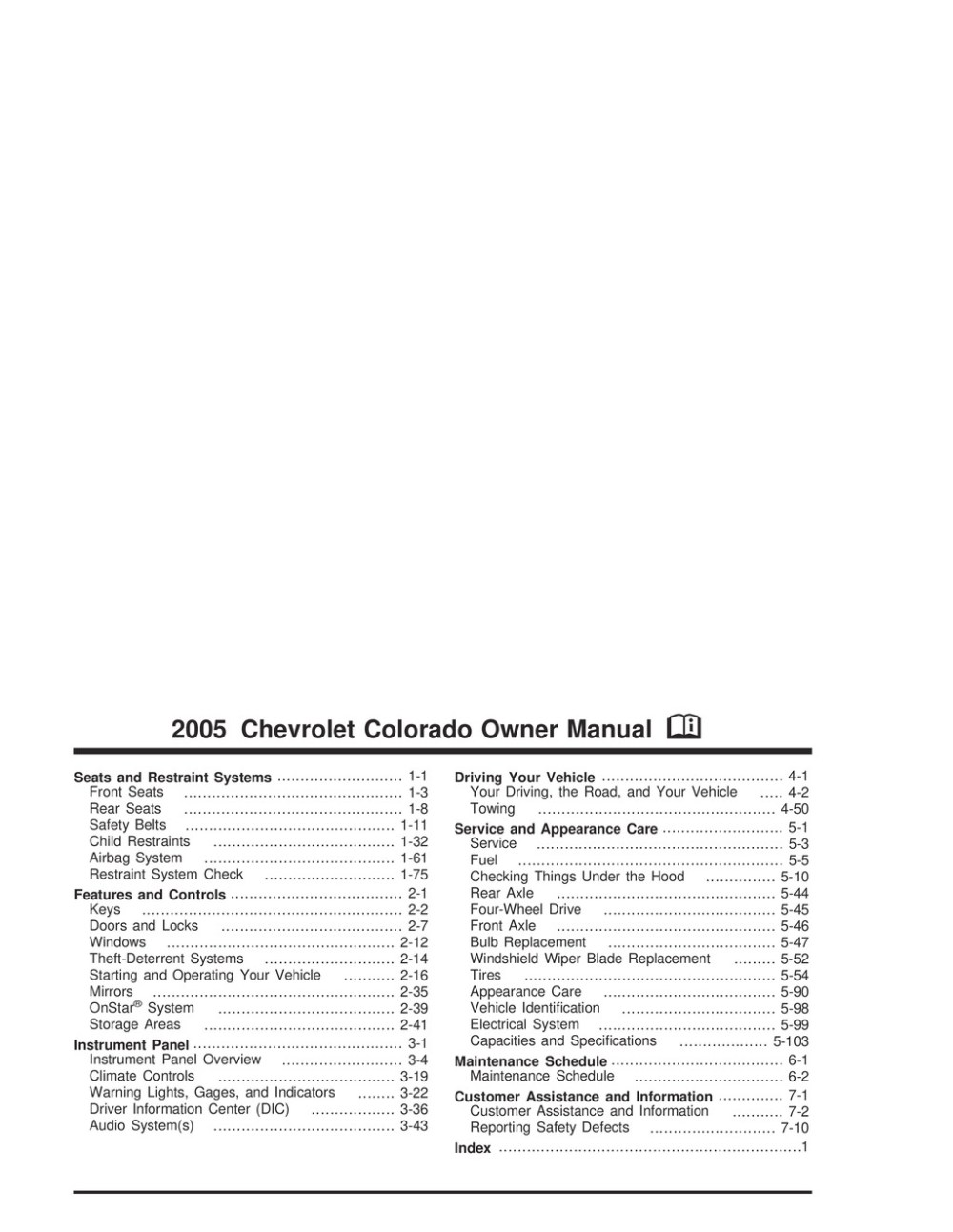 medium resolution of 2005 chevrolet colorado owner s manual