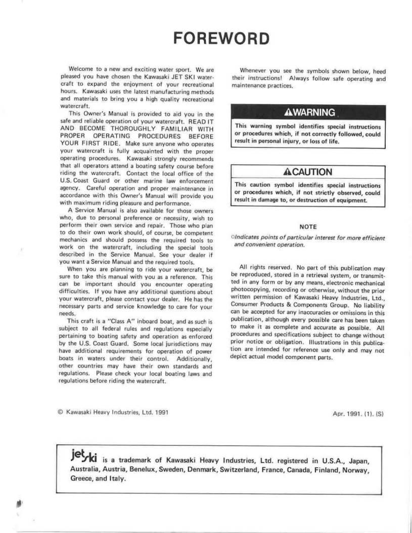 1992 Kawasaki Jet Ski TS – Owner's Manual – Page #5
