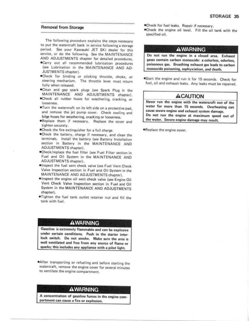 1990 Kawasaki Jet Ski 650 SX – Owner's Manual – Page #37