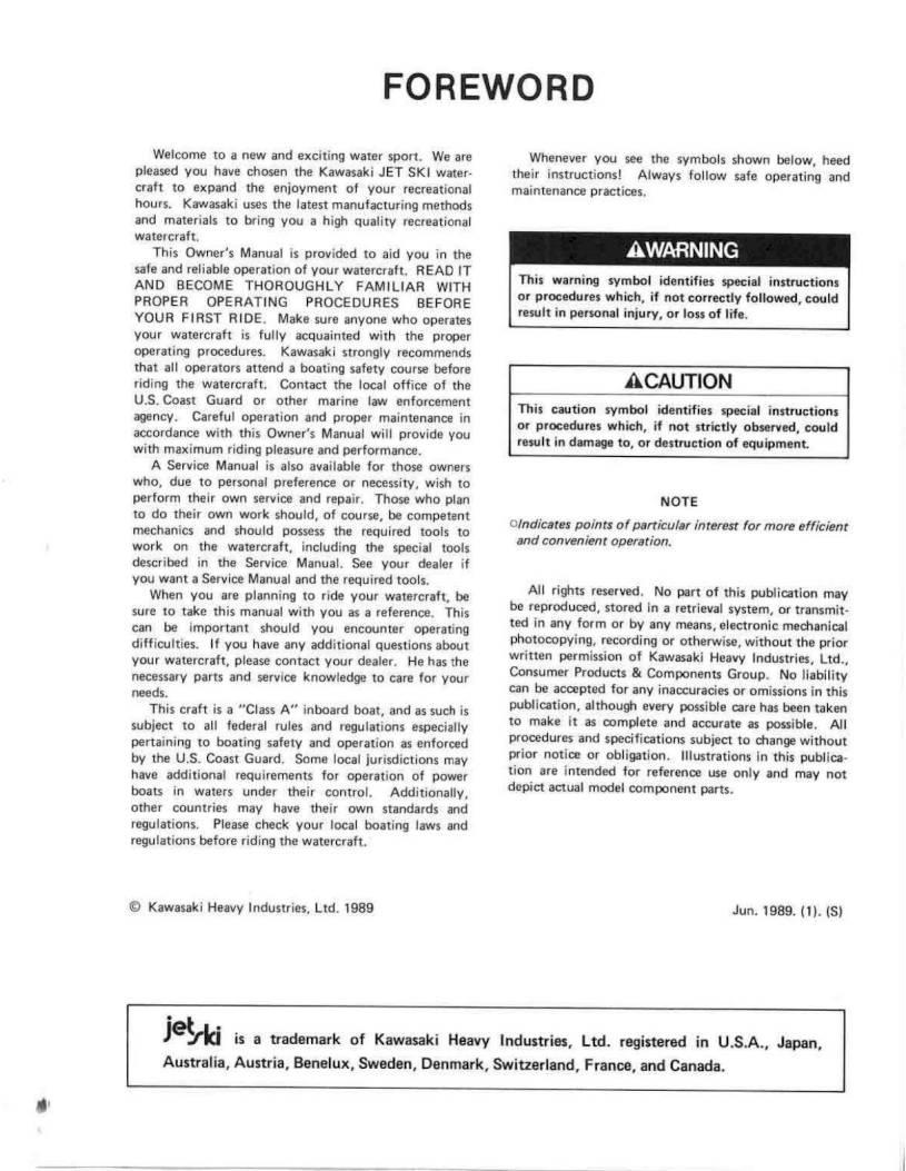 Bestseller: 1989 Kawasaki Jet Ski Manual