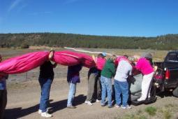 towing a hot air ballow