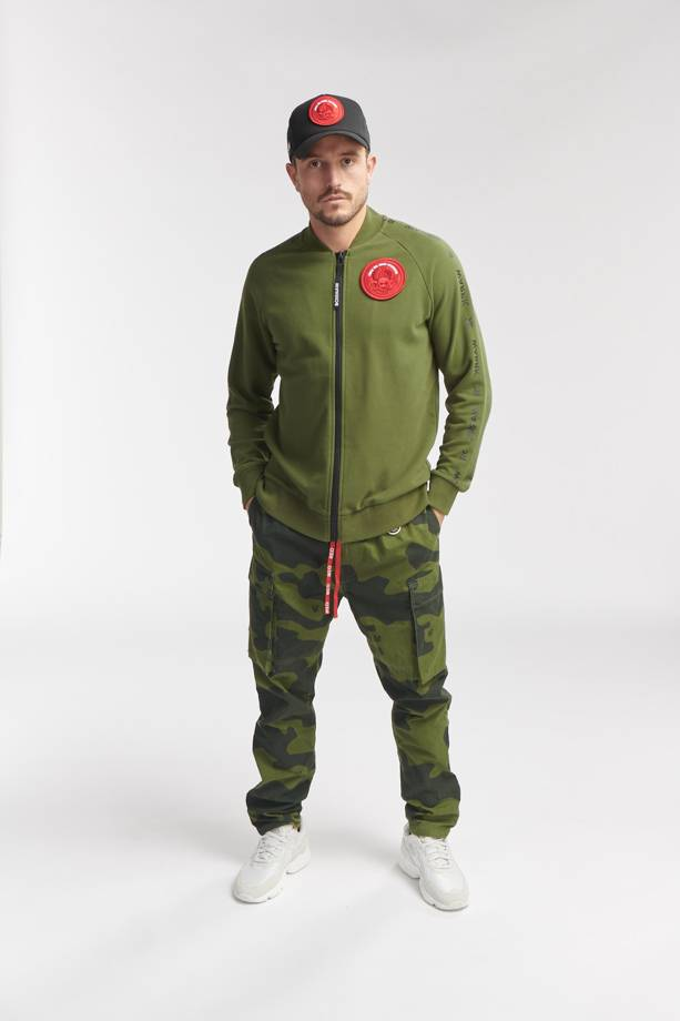 WAX SWEAT BOMBER ARMY GREEN O3W ONCE WE WERE WARRIORS