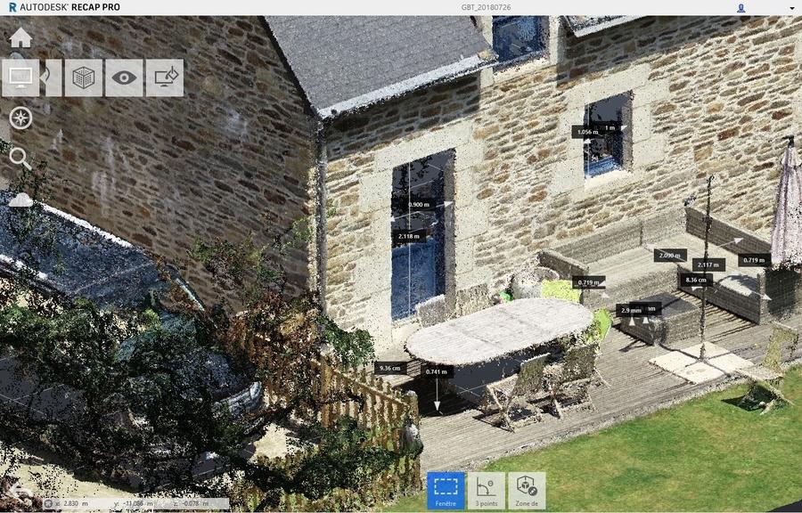 Modélisation 3D par photogrammétrie; Plan de coupe Autodesk RECAP 360 après export en format .E57 du nuage de points