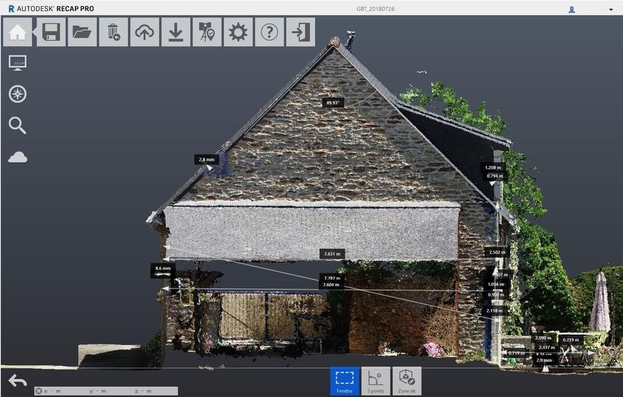 Modélisation 3D par photogrammétrie ; Plan de coupe Autodesk RECAP 360 après export en format .E57 du nuage de points