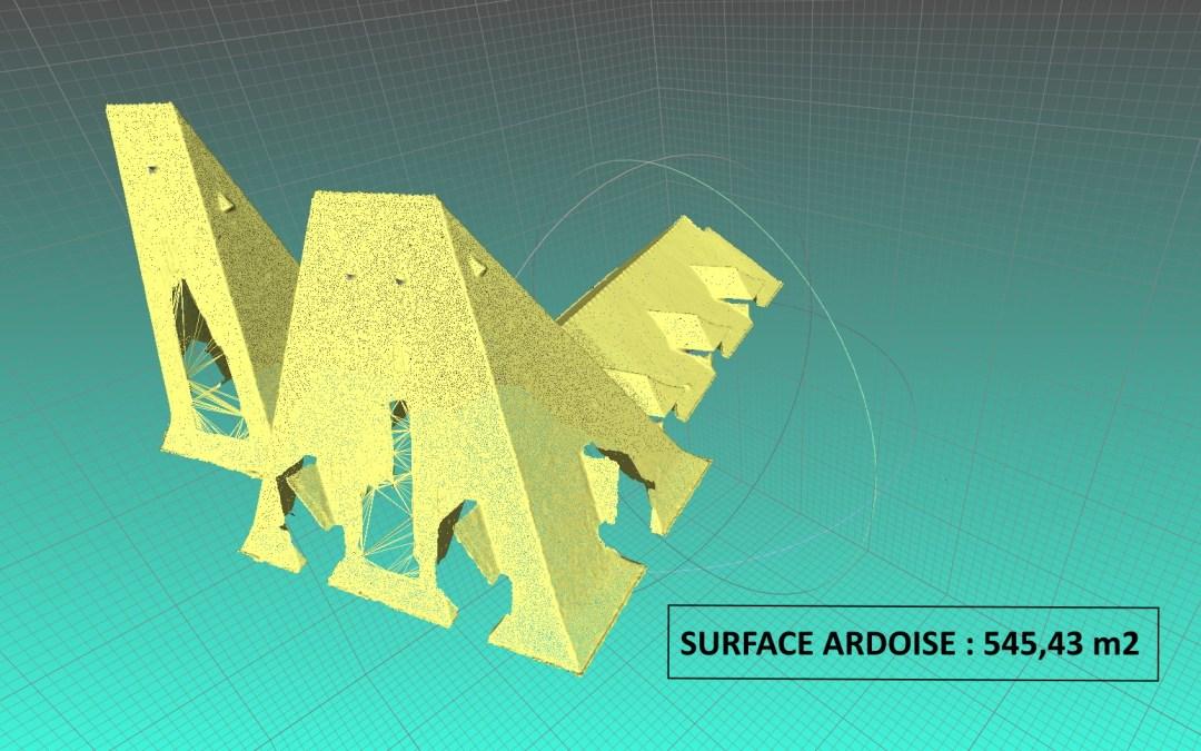 Modèle 3D importé du logiciel de photogrammétrie permettant le calcul de la surface de toiture
