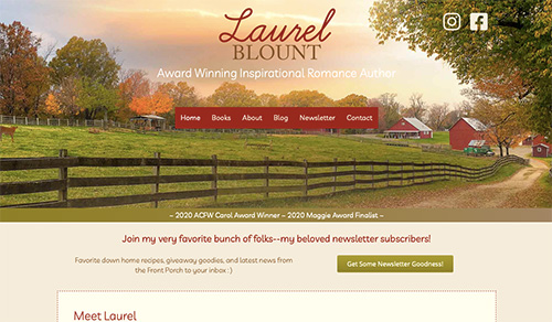 Home page image of Laurel Blount, author. Farm scene with wooden fence.