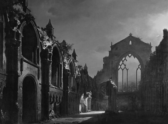 Ruins of Hollyrood Chapel, black and white.