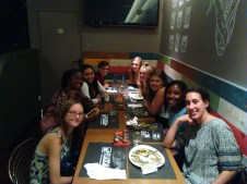 """One of our """"Spanish Language"""" classes at the start of their meal."""