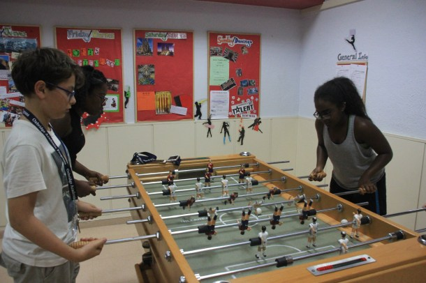 Students during the foosball tournament.