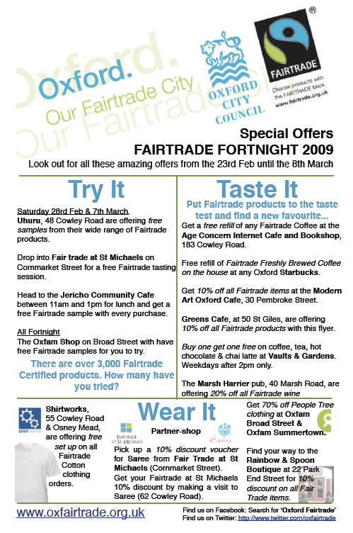 Fairtrade Special Offers - Oxford 2009