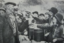 Guides serving meals to demolition workers in Canterbury