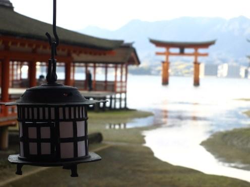 Hanging lantern and torii