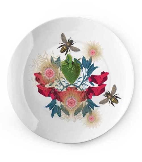 Plate green Strawberry