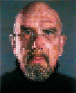 Chuck Close, a face made of thousands of tiny pictures, in 2000. (July 5, 1940)