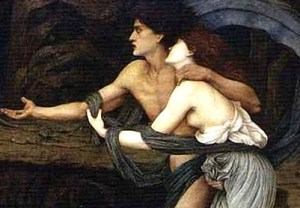Orpheus and Eurydice by John Rodham Spencer Stanhope. They had a few regrets. From Wikimedia Commons.