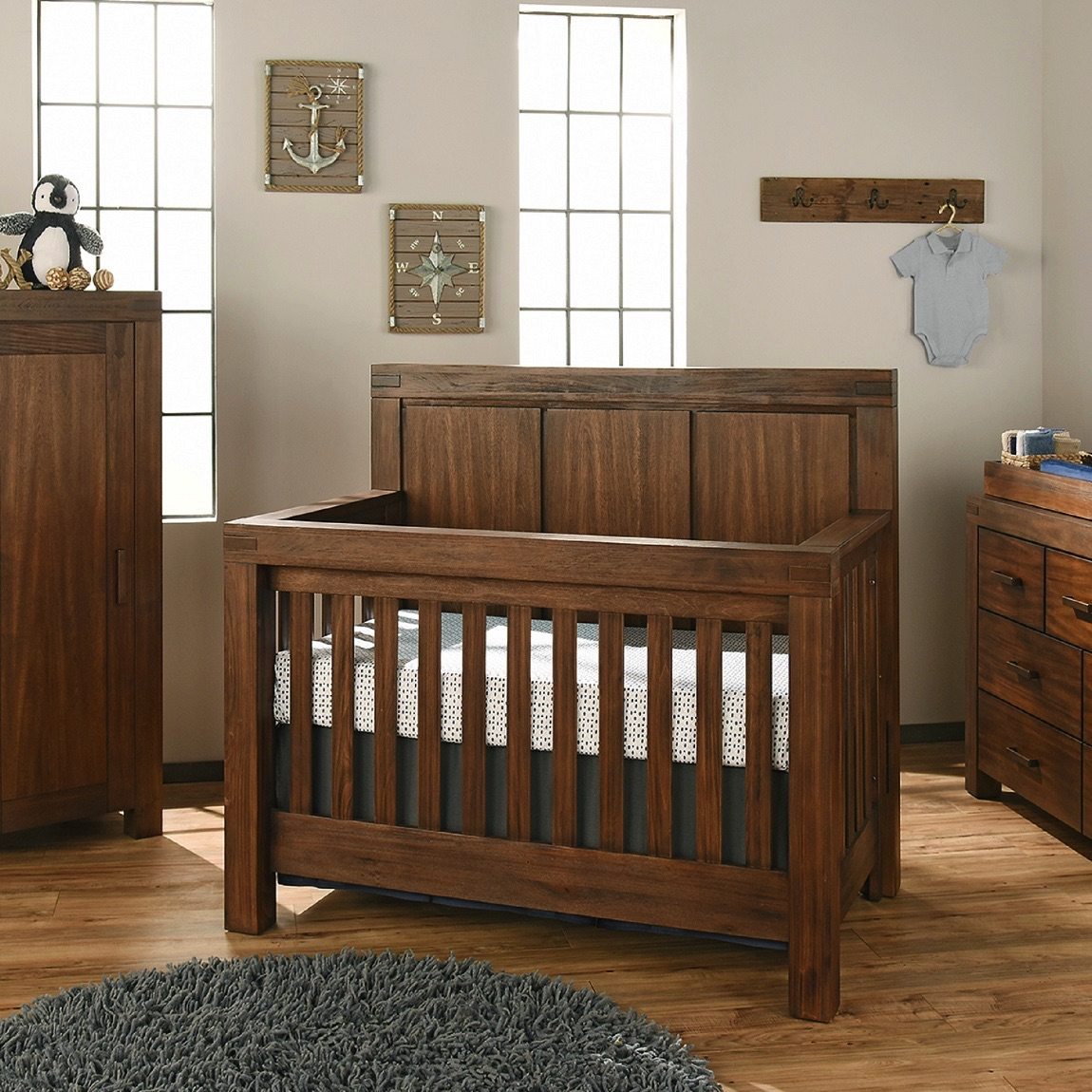 4 in 1 Convertible Crib  Piermont Rustic Farmhouse Brown  Oxford Baby  Kids
