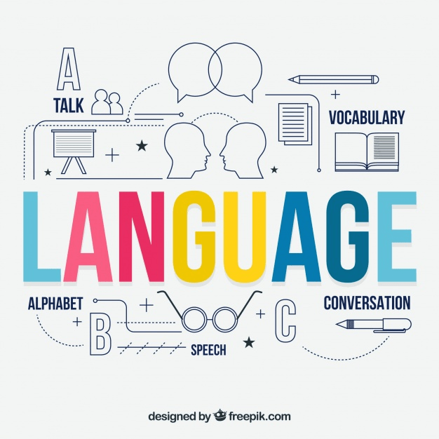 This image shows how the English Language is spoken from text to presentations and conversations.